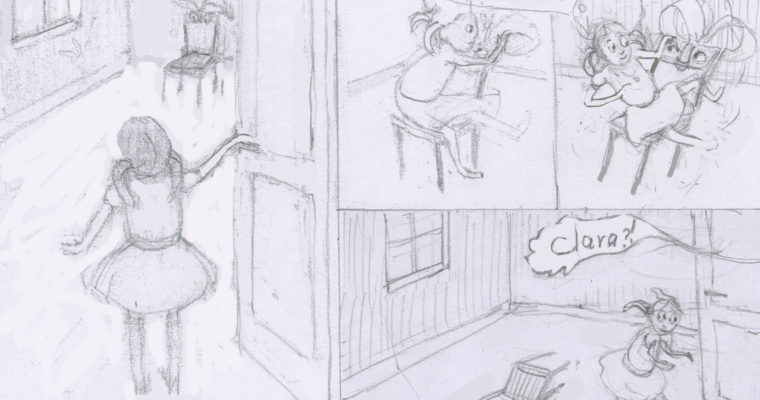 "Sketch for the picture book project in progress ""THE CHAIR"""