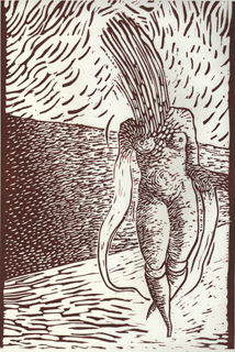 Beach Walker 1996 lino print. Printed on 50% Fabriano cotton paper. Size 27x39,5 cm