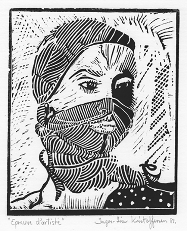 The Scarf 1981 Lino print. Printed on 50% Fabriano cotton paper. Size 17,7 x 14,5 cm