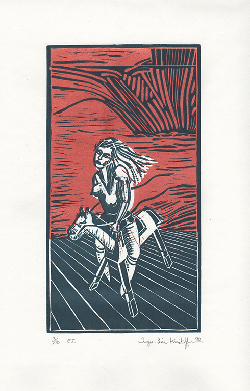 _HORSE RIDER 1990 15,5 X 20,8cm. Printed on thin Japanese paper. Artist print (limited edtion 10.)